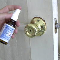 Spray Colloidal Silver on Door Knobs
